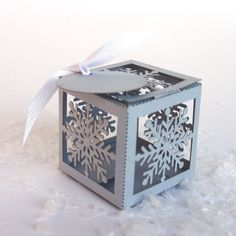 Laser cut favor box Snowflake by KatBluStudio on Etsy