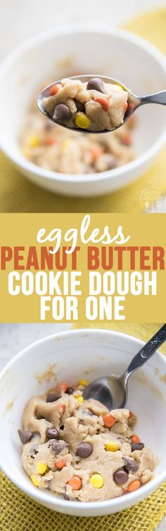 Peanut Butter Chocolate Chip Cookie Dough for One - This eggless cookie dough makes just enough for one person to have a small bowlful of delicious peanut butter cookie dough, stuffed full of chocolate chips and reeses pieces, to satisfy your cookie dough craving!