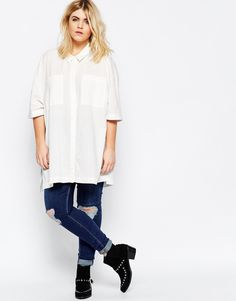 Image 4 of ASOS CURVE Casual Oversized Pocket Shirt