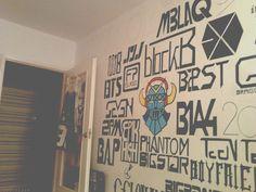 kpop wall more kpop bedroom ideas dream room diy kpop kpop diys wall ...