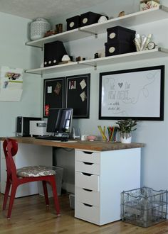 Ikea office - Numerar Countertops, Vika Alex Drawer Units, Ekby Jarpen Shelving