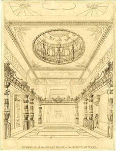 Interior of the Egyptian Hall in Piccadilly; the room decorated in the Egyptian style, with Egyptian imagery on the walls and ceiling, the main space otherwise empty; a man in a top hat entering from the right; etched state.  Etching