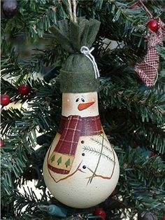 Snowman Tree Light Bulb Ornament