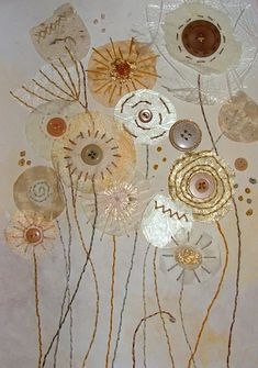 Fields of Gold - textile mixed media by Christine Pettet Art www.facebook.com/christinepettetart