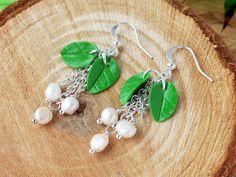 Christmas Mistletoe earrings Holiday long earrings Freshwater pearls Earrings winter Jewelry polymer clay Christmas Green White Jewelry by KsuhaJewelryFlowers on Etsy