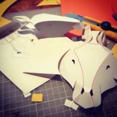 horse mask small study model. this is how i make everything...hand drawing and them physically fabricate.