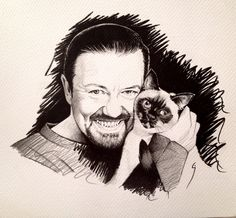 Pencil portrait of British comedian, actor and director Ricky Gervais & Ollie. #rickygervais #portrait #sketch #art #pencil #celebrity