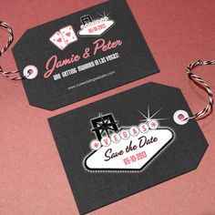 Las Vegas Save the Date Luggage Tags by Designkandy on Etsy, $25.00
