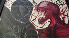 spiderman and venom oil painting