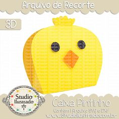 Caixa Pintinho,  Caixa, Pintinho, Chick Box , Chick , Box , baby chick, projeto 3d, boxes, box, arquivo de recorte, caixa, 3d,svg, dxf, png, Studio Ilustrado, Silhouette, cutting file, cutting, cricut, scan n cut.