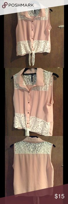 """Pink chiffon and lace tie front tank top Really very cute for warm weather, lightweight chiffon material with adorable off white lace accents and tie front, will fit up to 35.5"""" bust, length is 20"""" Love Culture Tops Tank Tops"""