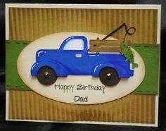 """I love this great card that Amanda made!! Amanda created a masculine birthday card using the """"Happy Birthday"""" and """"Dad"""" stamps from the Joy's Life """"Father and Son Stamps"""" set. All the cuts she used are from the """"Just Because Cards"""" Cricut cartridge. SOOOO CUTE!! She added some dimension to her card by inking up …"""