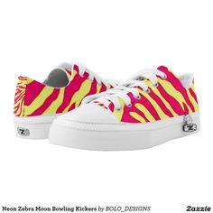 Neon Zebra Moon Bowling Kickers Printed Shoes