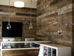 Reclaimed wood wall: studio