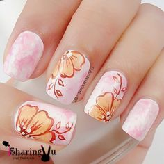 Floral with Marble base  nail art
