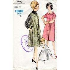 1960s Maternity Dress and Blouse Pattern Vogue by BessieAndMaive