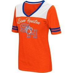 Colosseum Athletics Women's Sam Houston State University Twist 2.1 V-Neck T-shirt (Orange, Size Large) - NCAA Licensed Product, NCAA Women's at Aca...