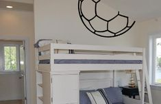 Soccer Ball Half Outline Wall Decal looks like the ball is coming out of the wall or ceiling. How cool? This works for boys and girls, can't go wrong there!  www.beautifulwalldecals.com  Beautiful Wall Decals