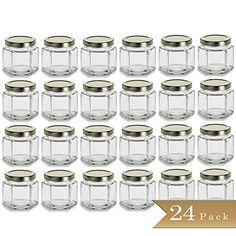 24 - TrueCraftware 4 oz Hexagon Glass Jars with Gold Cove...