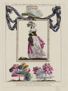 """""""Jeune personne coeffée d'un chapeau au Wauxhall du dernier goût et vêtue d'une robe de taffetas à fleurs. 1 Chapeau au Ranelagh. 2 Pouf au Zigzag. 3 Bonnet-chapeau appellé à l'Anglomane"""", Gallerie des Modes, 1787; MFA 44.1656"""