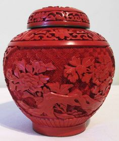 Antique 19th Century QING Dynasty CINNABAR Ginger Jar ♠️♠️More At FOSTERGINGER @ Pinterest. ♠️♠️