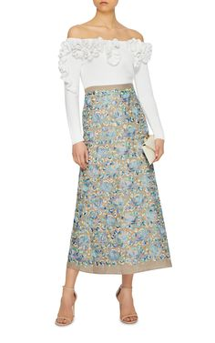 Linen Embroidered Maxi Skirt by LUISA BECCARIA Now Available on Moda Operandi