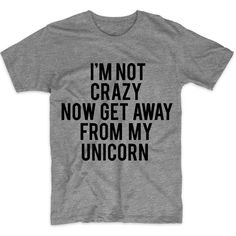 Metallic Gold Print! I'm Not Crazy Now Get Away From My Unicorn,... (€13) ❤ liked on Polyvore featuring men's fashion, men's clothing, men's shirts, men's t-shirts, mens leopard print t shirt, mens patterned t shirts, mens long sleeve graphic t shirts, mens print shirts and mens long sleeve cotton shirts