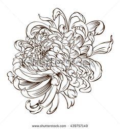 Japanese Flower Tattoo Chrysanthemum Flower Blossoms Stock Vector 439757149 : Shutterstock