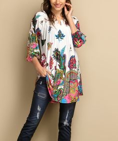 Another great find on #zulily! White Paisley Notch Neck Tunic - Plus #zulilyfinds