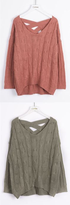 Free Shipping+$25.99 Only! Fall in love with this twist style! This drop shoulder ribbed piece is detailed with twist knitting, V-neck&back lace-up design. Get it sweet, babe!