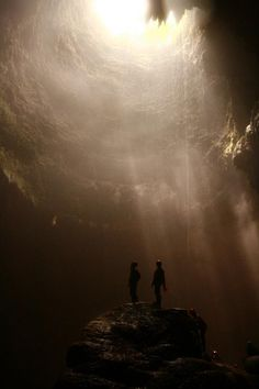 Jomblang Vertical Cave's Ray of Light. Located in Gunung Kidul, Jogjakarta, Indonesia.