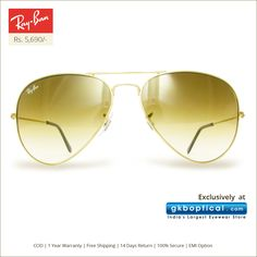 Go bling with #Ray-Ban #Sunglasses at just Rs 5,690 available only at http://www.gkboptical.com/ray-ban-rb3025-aviator-sunglass-ry417gl55/.