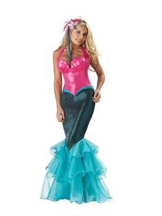 Mermaid Adult Halloween Costume available at Teezerscostumes.com, PIN10 for 10% off, Halloween Costume