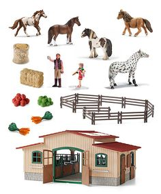 Look what I found on #zulily! Horse Figurine & Stable Set by Schleich #zulilyfinds I WANT this!!