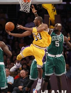 Los Angeles Lakers shooting guard Kobe Bryant (24) can't make this basket over Boston Celtics power forward Kevin Garnett (5) in the first half of their NBA basketball game in Los Angeles on January 30, 2011. The Celtics won 109 to 96. UPI/Lori Shepler