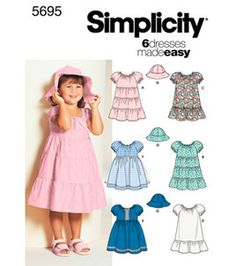 Simplicity Pattern 5695-Toddlers' Dresses & Hat...H-2, 3, 4: Toddler Patterns: sewing patterns: fabric: Shop   Joann.com