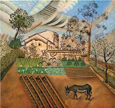 Joan Miro (1893 - 1983) | Naïve Art (Primitivism) |  The Vegetable Garden with Donkey - 1918