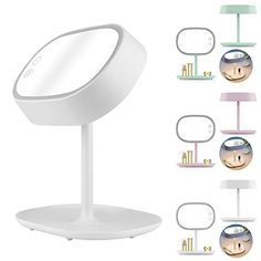 Touch Sensor LED Lighted Magnifying Makeup Mirror Vanity Mirror Desk Lamp Makeup Storage Tray