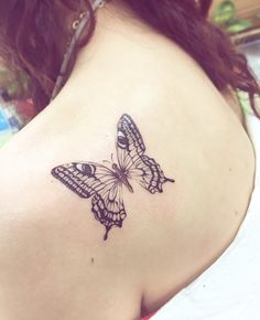 Back Shoulder Butterfly Tattoo by Banul