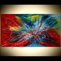 Pintura abstracta moderna colorido arte de por largeartwork en Etsy