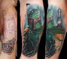 Boba Fett #tattoo by: David M. Klaiber @davidklaiber  @bluebyrdtattoodayton | Dayton Ohio Booking Inquiries:  bluebyrdtattoo@gmail.com #starwarstattoo #bobafett #bobafetttattoo #bluebyrdtattoo #colortattoo #tattoooftheday #tattoosofinstagram #tattooworld #tattoowork #supportgoodtattooers #tattooaddict #inkedlife #inkedforlife #tattoostagram #tattoogram #tattoolife #tattoolover #tattoolifestyle #tattoodo #tattooday #besttattoos