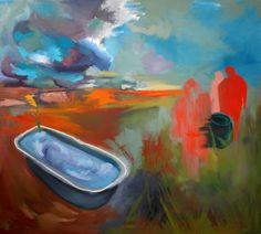 Chilling with enemies  Oil on canvas by David Nemeth