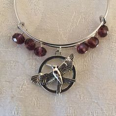 Bird In Flight And Purple Crystal Silver Tone Adjustable Wire Bangle Bracelet by cbfcreationsHB on Etsy