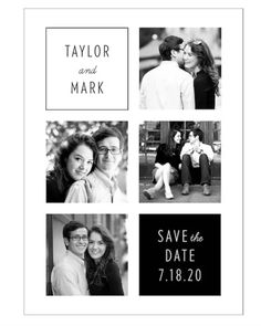 The Four Square Save the Date Card features four photos of your choice—a lovely way to introduce your guests to the new couple! Created by the designers at Paper Source.Printed on bright white, ultra smooth 130 lb. Paper is FSC a Wedding Stationary, Wedding Invitations, Save The Date Online, Maid Of Honor Speech, Marriage Certificate, Postcard Size, Paper Source, Library Card, Romantic Getaways