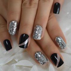 Acrylic Nail Tips, Acrylic Nail Designs, Nail Art Designs, New Years Nail Designs, Sparkly Nail Designs, Nails Design, New Year's Nails, Hair And Nails, Cute Nails