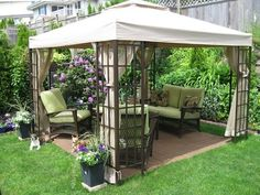 A gazebo is normally an open-sided, free-standing structure which has a roof. It is possible to select a larger gazebo for those who have a large and spacious garden. The canvas gazebo provides you an attractive tent covering for your… Continue Reading → Backyard Ideas For Small Yards, Small Backyard Gardens, Small Backyard Landscaping, Landscaping Tips, Modern Backyard, Inexpensive Backyard Ideas, Small Backyards, Small Patio Canopy Ideas, Back Yard Gazebo Ideas