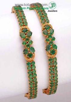Totaram Jewelers: Buy 22 karat Gold jewelry & Diamond jewellery from India: 18K Gold Emerald Bangle - Set of 2(1 Pair).