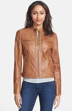 Brown Leather Jacket -  Cole Haan Quilt Detail Leather Moto Jacket at Nordstrom.com. Lambskin leather lends an exceptionally supple feel to a moto-inspired jacket detailed with diamond quilting across the yoke and upper sleeves. Gleaming golden hardware adds a glam touch.