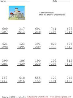 Free Addition Worksheets, 3 Digits With Carrying Maths Worksheets Ks2, Printable Preschool Worksheets, Addition Worksheets, Math Activities, Second Grade Math, 4th Grade Math, Math Sheets, Eureka Math, Math Projects
