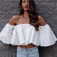 b693875bca830 Sexy shoulderless Flare sleeve Tank tops Off shoulder tee shirt Crop Top  Cropped